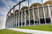 The modern building of National Arena in Bucharest Romania in the dusk — Stock Photo