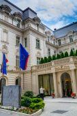 BUCHAREST, ROMANIA - June 28, 2015. Main entrance detail of Grand Hotel Continental located on Victoria Avenue (Calea Victoriei) — Stock Photo