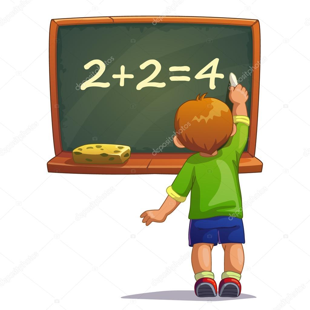 Little cartoon boy writes with chalk on a blackboard ...