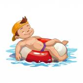 Boy is swimming on the pool ring — Stock Vector