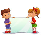 Boy and girl with paper — Stock Vector
