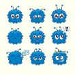 Little cute cartoon fluffy monster with different emotions — Stock Vector #60465171