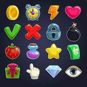 Cartoon icons for game user interface — Vettoriale Stock
