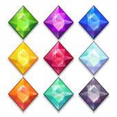 Cartoon vector gems and diamonds — Stock Vector