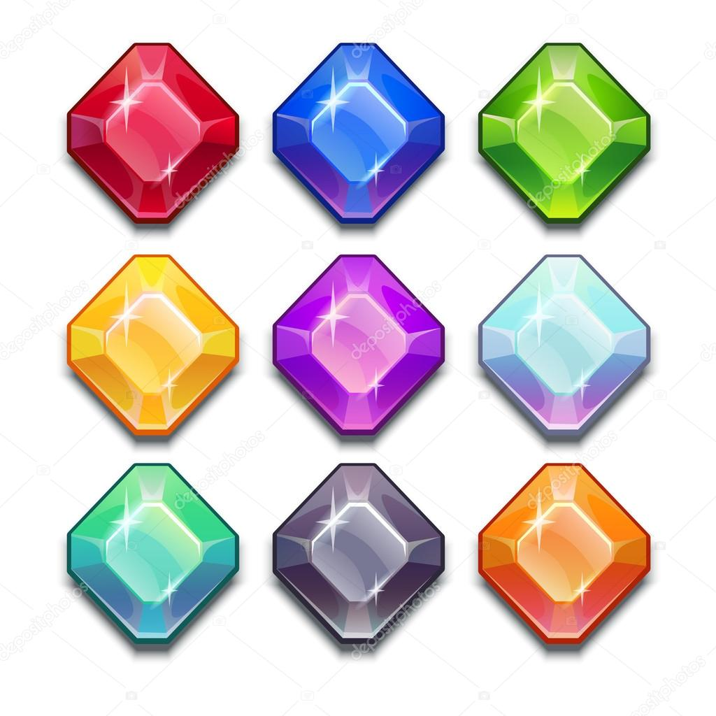 Cartoon Colored Marbles : Cartoon vector gems and diamonds — stock lilu