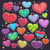 Big set of bright colorful heart stickers — Διανυσματικό Αρχείο