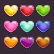 Glossy hearts in different colors — Stock Vector #62270787