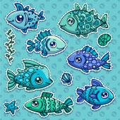 Fishes and undersea elements — Stock Vector