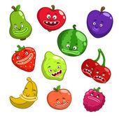 Cartoon fruits and berries — Stock Vector