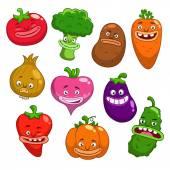 Cartoon funny vegetables — Stock Vector