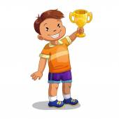 Boy with gold winner cup — Stock Vector