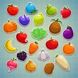 Fruits, berries, vegetables — Stockvektor  #65097637