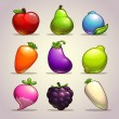 Fruits, berries and vegetables — Stock Vector #65097689