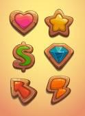 Wooden game elements — Stock Vector