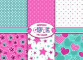 Cute girlish patterns — Stock Vector