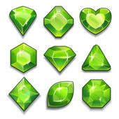 Green crystals with different shapes — Stock Vector