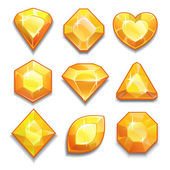 Set of yellow crystal — Stock Vector