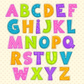 Cute funny childish alphabet — Stock Vector