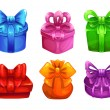 Vector colorful gift boxes with big bows — Stock Vector #79479512