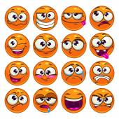 Orange cartoon round characters — Stock Vector