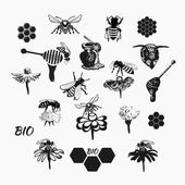 Vector set for honey sketches 4 — Stock Vector
