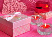 Valentines day card concept, Valentine gift, candles, gifts, surprises. — Stock Photo