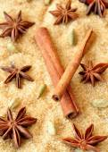 Spices cinnamon sticks,  cardamon and anise over heap of brown sugar — Stock Photo
