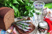 Russian traditions open sandwich with a sardines on rye bread with the wineglass of vodka — Stock Photo