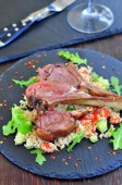 Roast Lamb with couscous and mint — Stock Photo