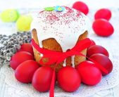 Easter cake kulich , Russian traditional, white background. selective focus — Stock Photo