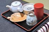 Japanese tea set on wooden tray — Stock Photo