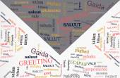 Words cloud of greeting phase in different languages on card's e — Stock Photo