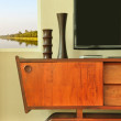 Retro decoration on television cabinet — Stock Photo #65018907