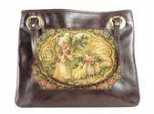 Gamla klassiska vintage handväska på vit bakgrund — Stockfoto