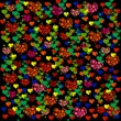 Colorful illustrations of love hearts on black background. Set of love hearts silhouette. Love hearts colorful backgrounds for Valentine's Day card, Birthday card. — Stock Photo #61526601