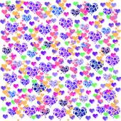 Colorful illustrations of love hearts on colorful background. Set of love hearts silhouette. Love hearts colorful backgrounds for Valentine's Day card, Birthday card. — Stock Photo