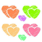 Colorful illustrations of love hearts on white background. Set of love hearts silhouette. Love hearts colorful backgrounds for Valentine's Day card, Birthday card. — Stock Photo