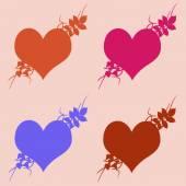 Πολύχρωμες εικονογραφήσεις των καρδιές αγάπη στο ζωηρόχρωμο κλίμα. Σύνολο αγάπη καρδιές σιλουέτα. Αγάπη η καρδιές πολύχρωμα φόντα για ημέρα του Αγίου Βαλεντίνου κάρτα, κάρτα γενεθλίων. — Φωτογραφία Αρχείου