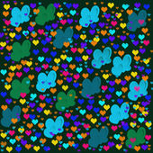 Colorful illustrations of love hearts on black background. Set of love hearts silhouette. Love hearts colorful backgrounds for Valentine's Day card, Birthday card. — Stock Photo