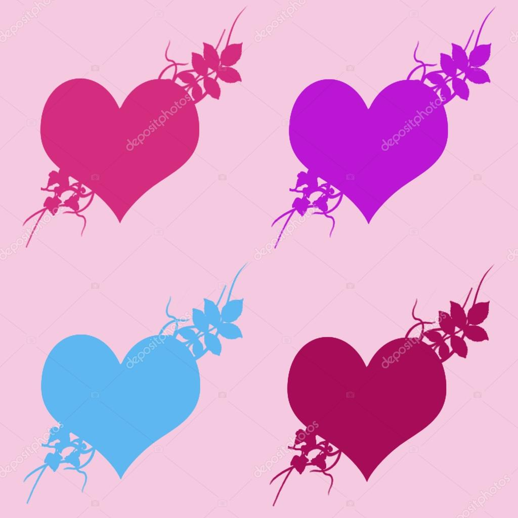 Colorful illustrations of love hearts on colorful background Set – Birthday Cards Backgrounds