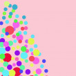 Abstract colorful background with bright circles on pink background. Colorful blots and stains. Colorful circle pattern background. Colorful abstract background for birthday card. — Stock Photo #61838449