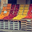 Street fruit and vegetables market place in Italy. Fresh food storage, store, market. Lemons, apples, oranges in the food fruits market stall. — Stock Photo #62189825