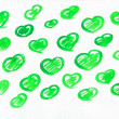 Set of green watercolor love sweet hearts for greeting, valentines day card. Love watercolor hearts background. Love sweet heart shapes for greeting card. Set of love hearts. Love hearts retro pattern — Stock Photo #67152645