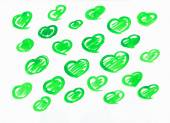 Set of green watercolor love sweet hearts for greeting, valentines day card. Love watercolor hearts background. Love sweet heart shapes for greeting card. Set of love hearts. Love hearts retro pattern — Stock Photo