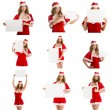 Set santa girl holds blank paper for text — Stock Photo #60338257
