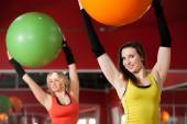 Exercises with pilates fitballs — Stockfoto