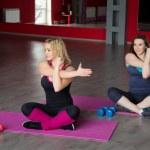 Постер, плакат: Two female friends do fitness exercises