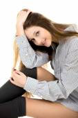 Beautiful young girl in cozy clothes — Stock Photo