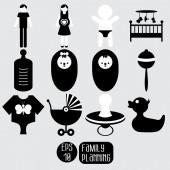 Conjunto de iconos de bebé. — Foto de Stock