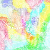 Abstract sketch with watercolor background — Stock Vector
